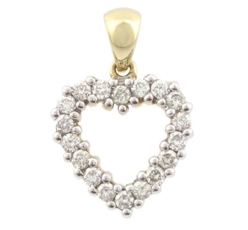 189633fa9ac Guld hjerte vedhæng med diamanter - Smykkebutikken